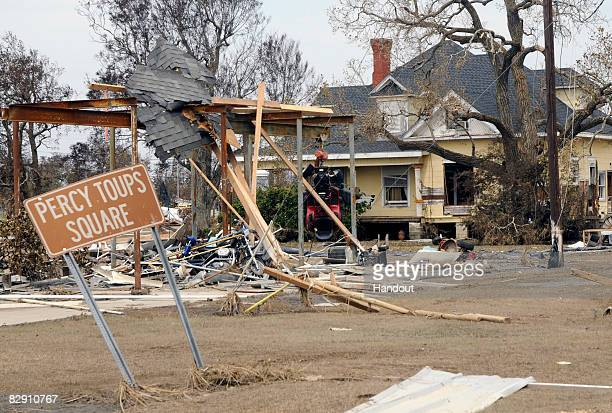 In this handout image provided by the US Department of Homeland Security a home damaged by Hurricane Ike is seen September 18 2008 in Sabine Pass...