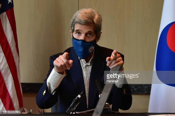 In this handout image provided by The U.S. Embassy Seoul, United States Special Presidential Envoy for Climate John Kerry speaks during a press...