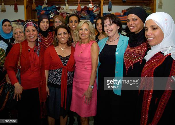 In this handout image provided by the US Embassy Tel Aviv US Vice President Joe Biden's wife Dr Jill Biden visits a Bedouin Women's Craft Center on...