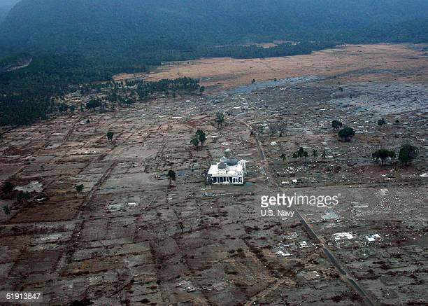 In this handout image provided by the U.S. Navy, a lone mosque remains standing among the damage of a coastal village January 4, 2005 near Banda...
