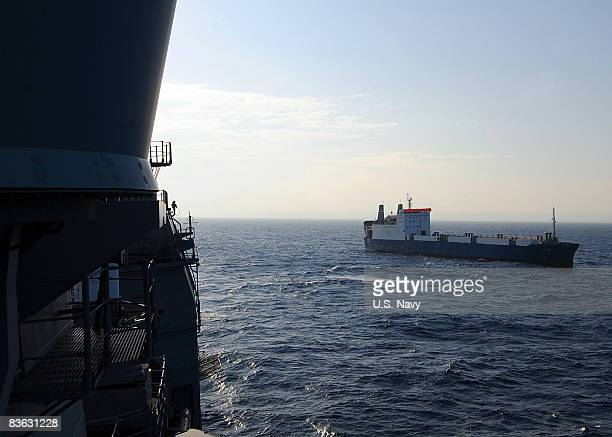 In this handout image provided by the US Navy the merchant vessel MV Faina is seen as the US Navy requests to check on the crew November 9 2008 in...