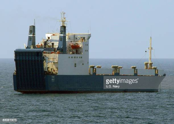 In this handout image provided by the US Navy the MV Faina one of the three pirated cargo vessels is observed by the guidedmissile cruiser USS Vella...