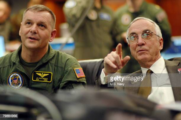 In this handout image provided by the U.S. Navy, Vice Chairman of the Joint Chiefs of Staff Gen. James E. Cartwright , U.S. Marine Corps, and Deputy...