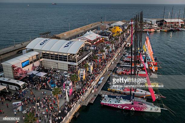 In this handout image provided by the Volvo Ocean Race A crowd in the Race Village in Alicante two days before the start of the Volvo Ocean Race on...