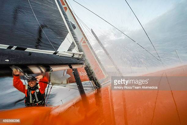 In this handout image provided by the Volvo Ocean Race a gradually building breeze propels Team Alvimedica southeast through the warm waters of the...
