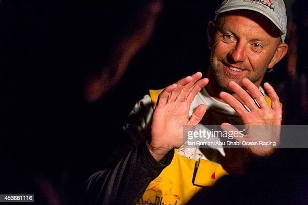In this handout image provided by the Volvo Ocean Race Abu Dhabi Ocean Racing's new Volvo Ocean 65 skippered by Ian Walker approaches the entrance to...