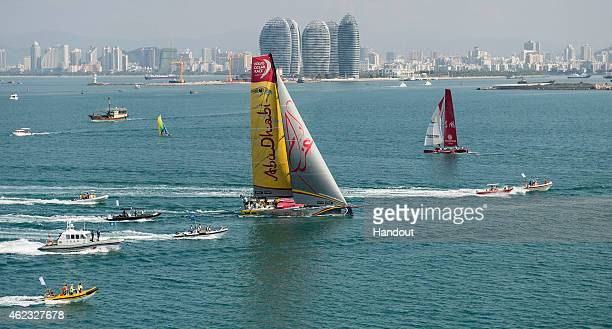 In this handout image provided by the Volvo Ocean Race Abu Dhabi Ocean Racing arrives in Sanya in second position after 23 days of sailing between...