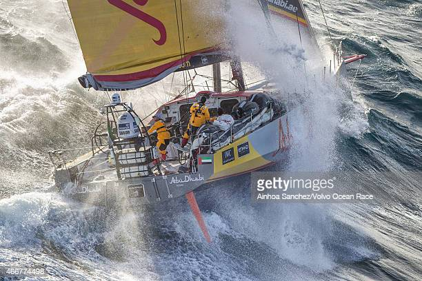 In this handout image provided by the Volvo Ocean Race Abu Dhabi Ocean Racing tackles steep and angry seas as they pass East Cape the easternmost...
