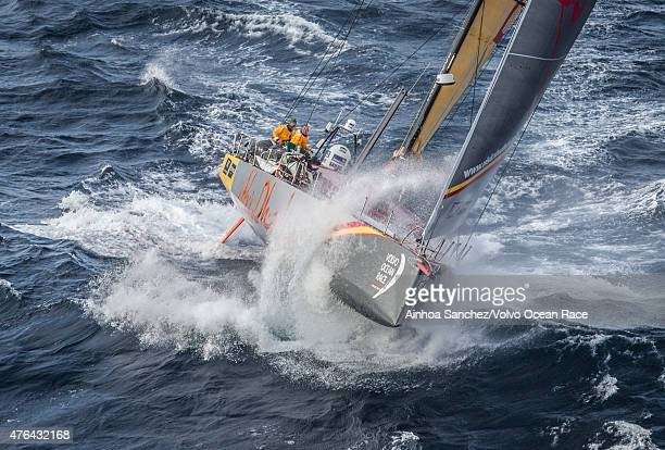 In this handout image provided by the Volvo Ocean Race Abu Dhabi Ocean Racing passing by Costa da Morte Coast of Death in Spanish waters during the...