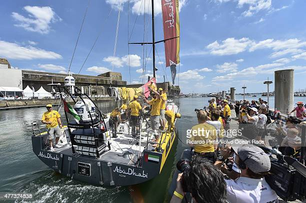 In this handout image provided by the Volvo Ocean Race Abu Dhabi Ocean Racing docking out for the start of Leg 9 from L'Orient via the Hague to...