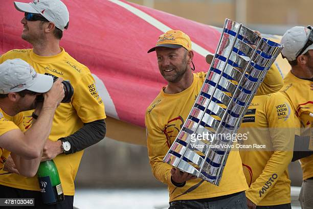 In this handout image provided by the Volvo Ocean Race Abu Dhabi Ocean Racing during the finish of Leg 9 from Lorient to Gothenburg via The Hague on...