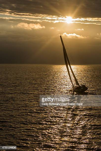 In this handout image provided by the Volvo Ocean Race Abu Dhabi Ocean Racing sailing up the Danish coast during the final stretch of Leg 9 from...