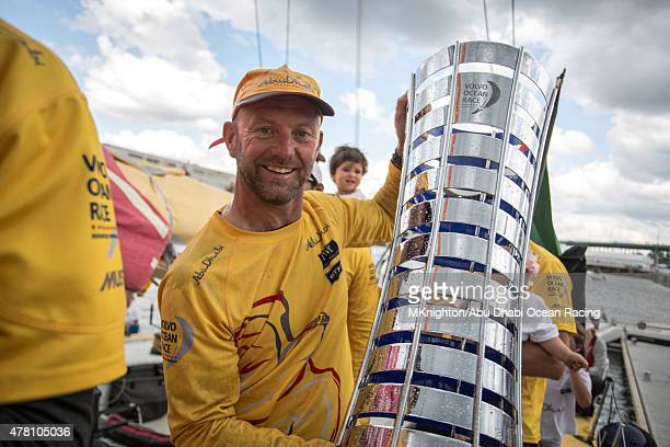 In this handout image provided by the Volvo Ocean Race Abu Dhabi Ocean Racing winners of the Volvo Ocean Race 201415 after the finish of Leg 9 from...