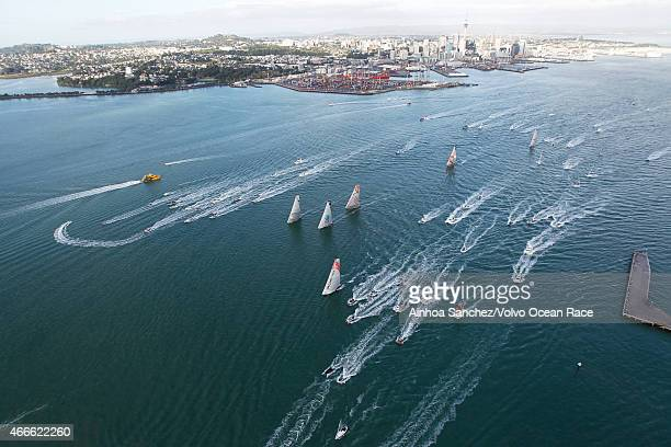 In this handout image provided by the Volvo Ocean Race Aerial view of the fleet at the Start of Leg 5 from Auckland to Itajai on March 18 2015 in...