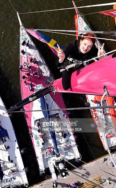 In this handout image provided by the Volvo Ocean Race Caroline Hjelt of Icona Pop poses after climbing the 75ft mast as Icona Pop visit Team SCA...