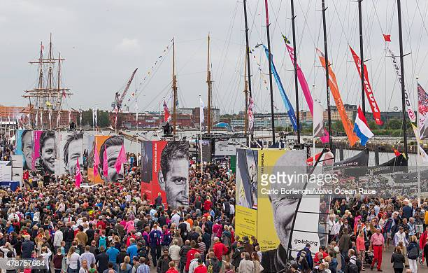 In this handout image provided by the Volvo Ocean Race Crowds during the prize giving following the final InPort Race on June 27 2015 in Gothenburg...