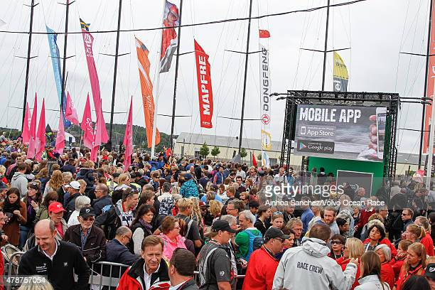In this handout image provided by the Volvo Ocean Race Crowds gather to watch the prize giving following the final InPort Race on June 27 2015 in...