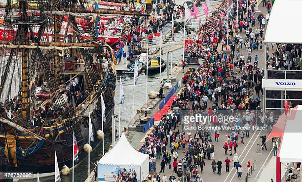 In this handout image provided by the Volvo Ocean Race Crowds gather to watch the final InPort Race on June 27 2015 in Gothenburg Sweden The Volvo...
