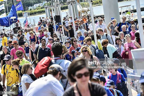 In this handout image provided by the Volvo Ocean Race Crowds watching the dock out for the start of Leg 9 from L'Orient via the Hague to Gothenburg...