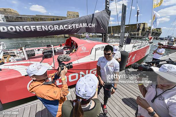In this handout image provided by the Volvo Ocean Race Dongfeng Race Team docking out for the start of Leg 9 from L'Orient via the Hague to...