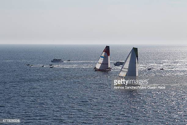 In this handout image provided by the Volvo Ocean Race Dongfeng Race Team and Team Brunel during the start of Leg 9 from L'Orient via the Hague to...