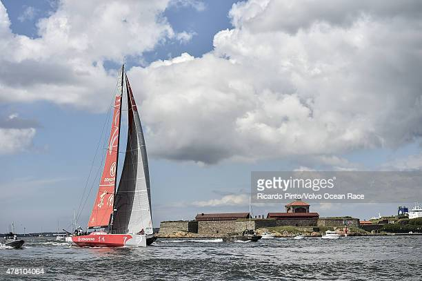 In this handout image provided by the Volvo Ocean Race Dongfeng Race Team during the finish of Leg 9 from Lorient to Gothenburg via The Hague on June...