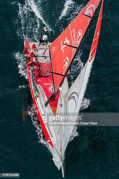 In this handout image provided by the Volvo Ocean Race Dongfeng Race Team sailing up the Danish coast during the final stretch of Leg 9 from Lorient...