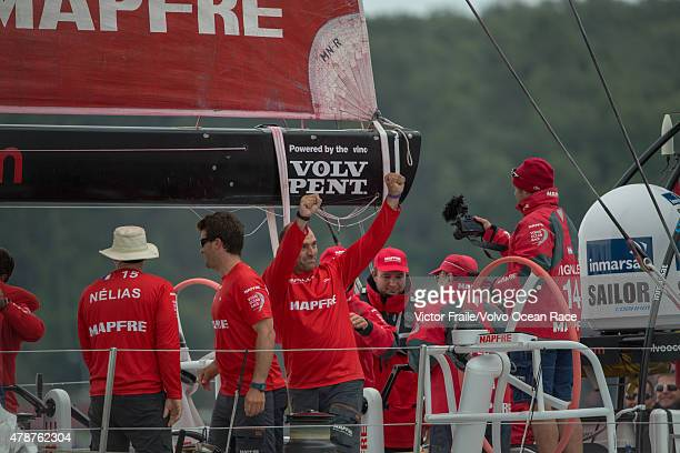 In this handout image provided by the Volvo Ocean Race His Majesty the King Juan Carlos onboard MAPFRE during the final InPort Race on June 27 2015...