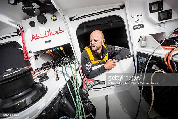 In this handout image provided by the Volvo Ocean Race Ian Walker of Abu Dhabi Ocean Racing watching from the hutch during Leg 2 between Cape Town...