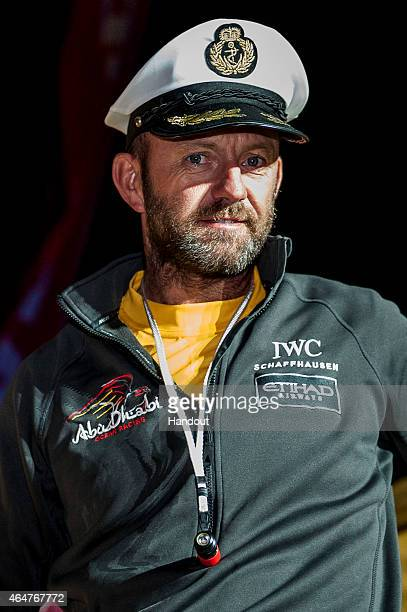 In this handout image provided by the Volvo Ocean Race Ian Walker skipper Abu Dhabi Ocean Racing looks on after doing second place of Leg 4 from...
