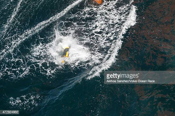 In this handout image provided by the Volvo Ocean Race Jumper onboard Dongfeng Race Team during the start of Leg 9 from L'Orient via the Hague to...