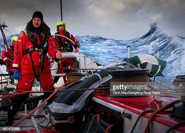 In this handout image provided by the Volvo Ocean Race Leg 5 to Itajai onboard Dongfeng Race Team Martin Stromberg Eric Peron and Liu Xue 'Black' on...