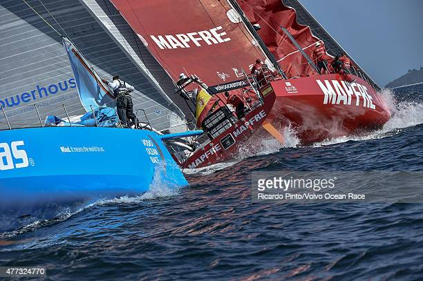 In this handout image provided by the Volvo Ocean Race MAPFRE and Team Vestas Wind during the start of Leg 9 from L'Orient via the Hague to...