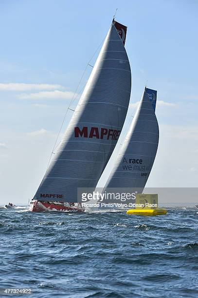 In this handout image provided by the Volvo Ocean Race MAPFRE and Team Brunel during the start of Leg 9 from L'Orient via the Hague to Gothenburg on...