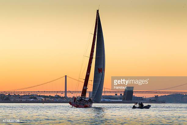 In this handout image provided by the Volvo Ocean Race MAPFRE arrives in second place during the finish of Leg 7 from Newport to Lisbon on May 27...