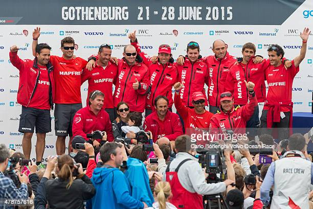 In this handout image provided by the Volvo Ocean Race MAPFRE during the prize giving following the final InPort Race on June 27 2015 in Gothenburg...