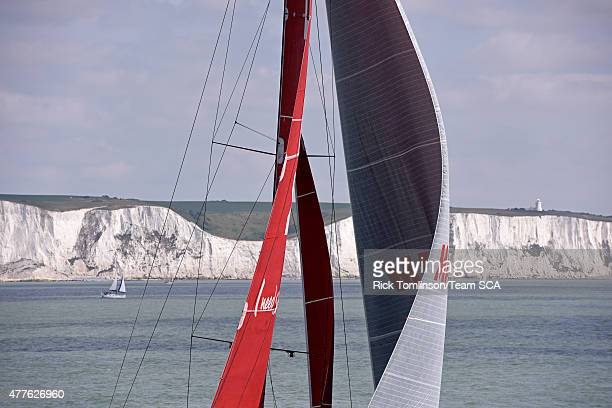 In this handout image provided by the Volvo Ocean Race MAPFRE in the English Channel and Dover Straits on the way to the pitstop on The Hague during...