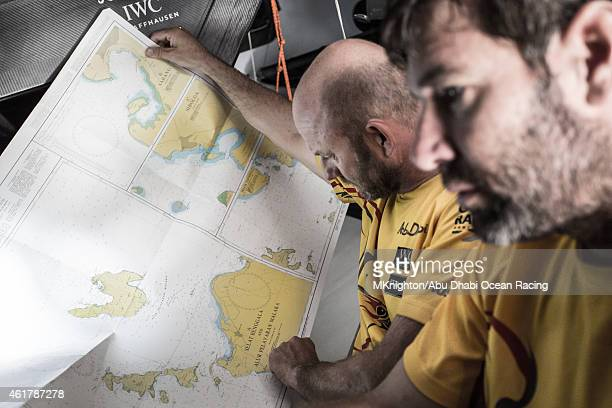 In this handout image provided by the Volvo Ocean Race onboard Abu Dhabi Ocean Racing Day 15 Skipper Ian Walker and navigator Simon Fisher aka SiFi...