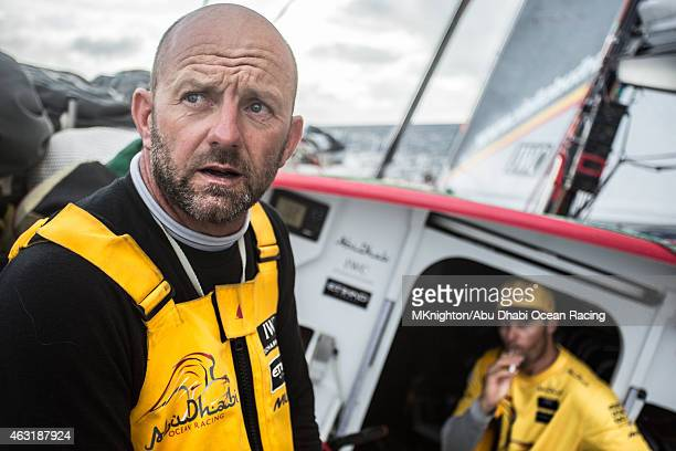 In this handout image provided by the Volvo Ocean Race onboard Abu Dhabi Ocean Racing An exhausted Ian Walker looks at Roberto Bermudez 'Chuny' as...