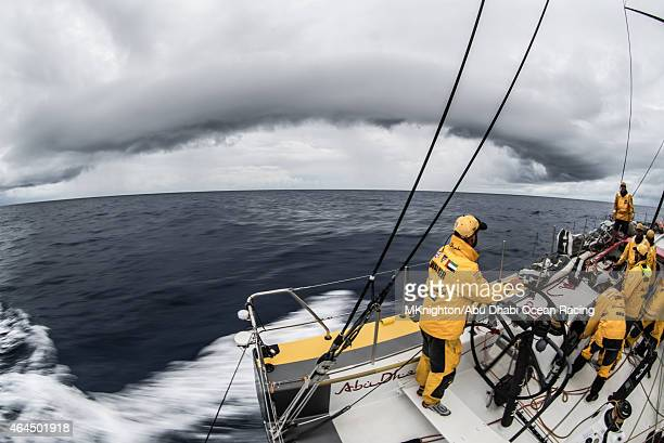 In this handout image provided by the Volvo Ocean Race onboard Abu Dhabi Ocean Racing Riding the front downdraft from a massive wall cloud Ian Walker...
