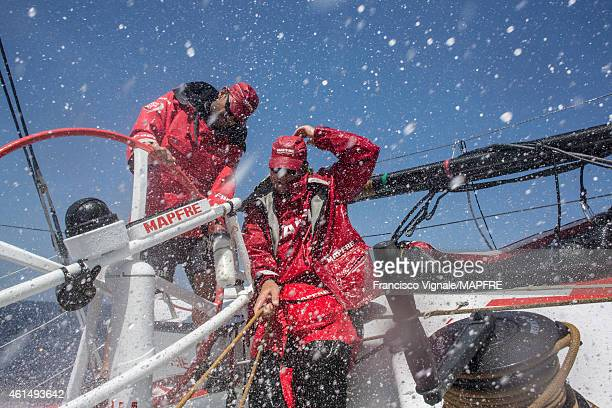 In this handout image provided by the Volvo Ocean Race onboard MAPFRE Standing skipper Xabi Fernandez and Antonio CuervasMons aka eti on watch during...