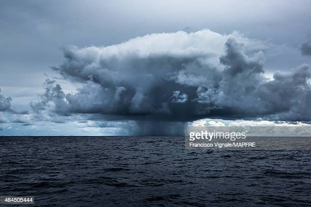In this handout image provided by the Volvo Ocean Race onboard MAPFRE A storm cloud that looks a lot like an atomic bomb during Leg 4 from Sanya to...