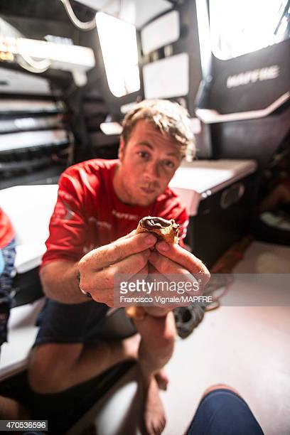 In this handout image provided by the Volvo Ocean Race onboard MAPFRE Antonio CuervasMons 'eti' is crazy about nutella crepes During Leg 6 from...