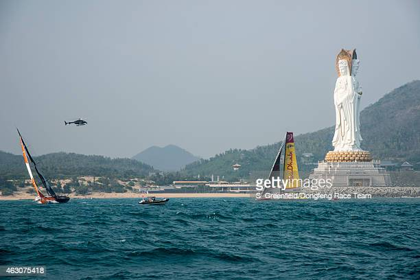 In this handout image provided by the Volvo Ocean Race onboard Dongfeng Race Team Just for scale Guan Yin Buddha is huge During the start of Leg 4...