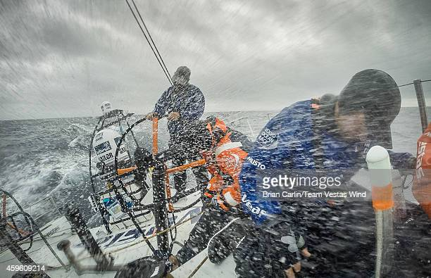 In this handout image provided by the Volvo Ocean Race onboard Team Vestas Wind A new transition awaits today as they cross a front its wet and wild...