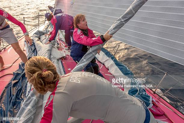 In this handout image provided by the Volvo Ocean Race onboard Team SCA Sunrise peel to the FR0 from the Masthead Zero during Leg 3 January 12 2015...