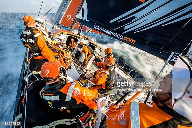 In this handout image provided by the Volvo Ocean Race onboard Team Alvimedica Day 10 Around the south of Sri Lanka the fleet enters the Bay of...