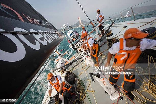 In this handout image provided by the Volvo Ocean Race onboard Team Alvimedica The Guan Yin Buddha now behind them Alvimedica heads out to sea with...