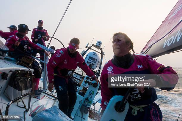 In this handout image provided by the Volvo Ocean Race onboard Team SCA 30 degrees heel upwind and bad sea state creates an uncomfortable life...