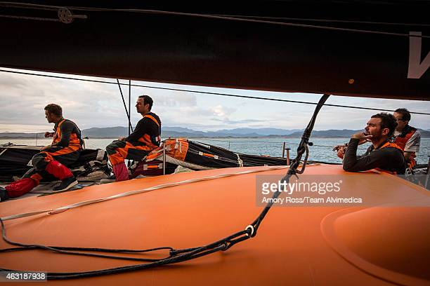 In this handout image provided by the Volvo Ocean Race onboard Team Alvimedica The foul weather gear finally comes off in the lighter winds and flat...